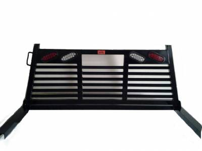 Roughneck - Roughneck Headache Rack 1 Piece Welded Short Angle Full Louver With Lights (BHRSAFLWL-DLD)