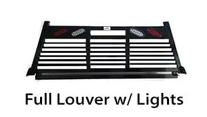 Roughneck - Roughneck  Headache Rack - 1 Piece Welded - Short Angle Full Louver w/ Lights  (BHRSAFLWL-GM19)