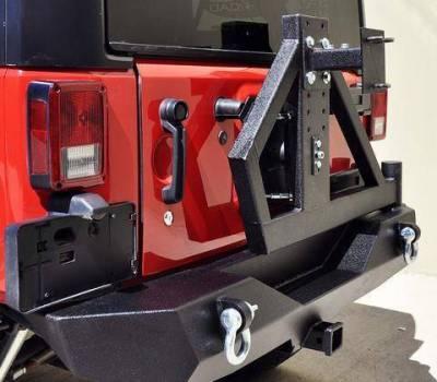 DV8 Offroad - DV8 - Single Action Rear Bumper &Tire Carrier  w/ Bearing 2007-2018 Wrangler JK  (RBSTTB-02)
