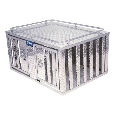 Aluminum - UWS Chest Boxes Aluminum - UWS - UWS 48in. X 48in. Aluminum Dog Box Double Door with Divider (DB-4848)