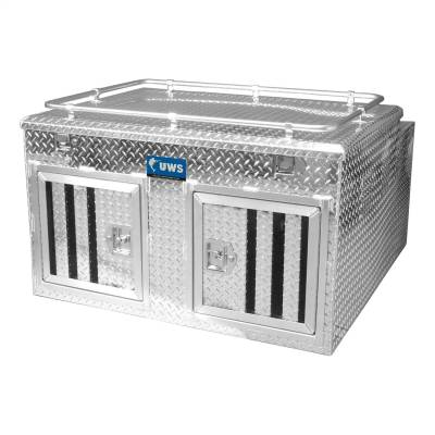 Aluminum - UWS Chest Boxes Aluminum - UWS - UWS 48in. X 48in. Aluminum Dog Box Double Door with Full Enclosure/Storage (DB-4848N)