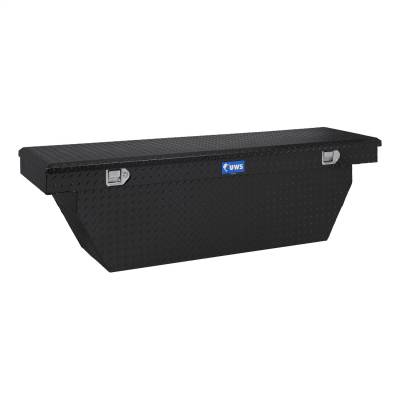 Aluminum - UWS Cross Boxes Aluminum - UWS - UWS 72in. Aluminum Single Lid Crossover Toolbox Deep Angled Black (TBSD-72-A-BLK)