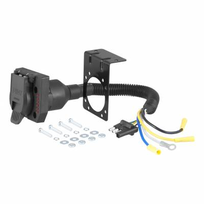 Electrical - Curt Electrical - CURT - CURT 4-WAY FLAT TO 7-WAY ROUND RV BLADE WIRING ADAPTER (57676)