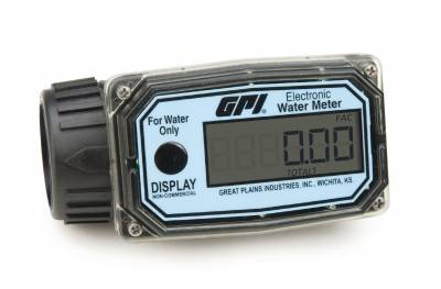 GPI - 01N31GM nylon turbine water flowmeter with digital LCD display, 3-30 GPM, 1-inch FNPT inlet/outlet