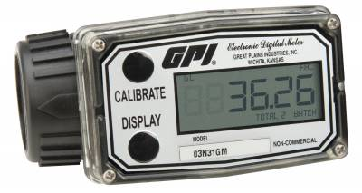 Meters - GPI Meters - GPI - 03N31GM nylon turbine meter, 3-50 GPM, 1-inch, UL listed