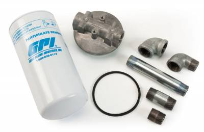GPI - Fuel particulate filter 40GPM/151 LPM, 30 micron, 1-inch aluminum adapter, pipe nipples, and elbows