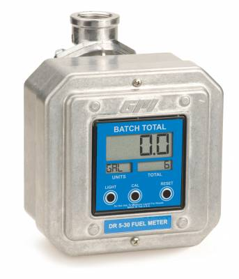 Meters - GPI Meters - GPI - DR 5-30-8B digital fuel meter, 5-30 GPM (19-114 LPM), 1-inch BSPP, 7 pre-programmed units of measure (gallons, liters, quarts), optional open collector signal, batch and cumulative totals