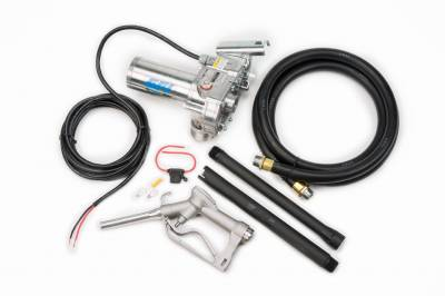 Pumps - GPI Pumps - GPI - M-150S-EM aluminum fuel transfer pump, 12V DC, 15 GPM, 0.75-inch manual unleaded nozzle, 0.75-inch x 10-foot hose, 18-foot power cord and adjustable suction pipe