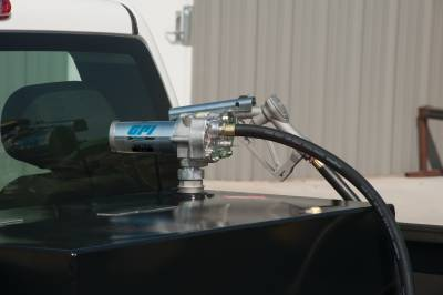 Pumps - GPI Pumps - GPI - M-150S-MU aluminum fuel transfer pump, 15 GPM, 12-VDC, 0.75-inch manual unleaded nozzle, 12-foot fuel hose, 18-foot power cord, adjustable suction pipe