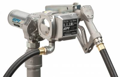 Pumps - GPI Pumps - GPI - M-150S-MU/FM-200-G6N aluminum fuel transfer pump with meter, 15 GPM, 12-VDC, 0.75-inch manual unleaded nozzle, 12-foot x 0.75-inch dispensing hose, 18-foot power cord and adjustable suction pipe