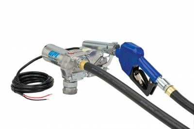 Pumps - GPI Pumps - GPI - M-180S-AU aluminum fuel transfer pump, 18 GPM, 12-VDC, 0.75-inch automatic unleaded nozzle, 1-inch x 12-foot static wire hose, hose adapter, 18-foot power cord and adjustable suction pipe