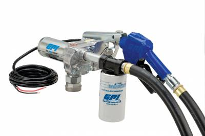 Pumps - GPI Pumps - GPI - M-180S-AU/FILTER aluminum fuel transfer pump with 10 micron filter, 18 GPM, 12-VDC, 0.75-inch automatic unleaded nozzle, 12-foot dispensing hose, hose adapter, 18-foot power cord and adjustable suction pipe