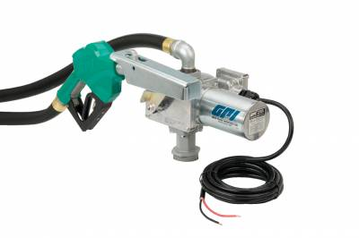 Pumps - GPI Pumps - GPI - M-3020-AD high flow cast iron fuel transfer pump, 20 GPM, 12-VDC, 1-inch automatic diesel nozzle, 12-foot fuel hose, 18-foot power cord, adjustable suction pipe