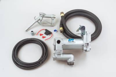 Pumps - GPI Pumps - GPI - M-3025CB-ML high flow cast iron fuel transfer pump, 12V DC, 25 GPM, 1-inch NPT x 18-foot fuel hose, manual leaded nozzle, 18-foot power cord, weight centering base