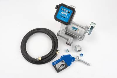 Pumps - GPI Pumps - GPI - M-3120-AL/MR530-G6N, pre-assembled high flow cast iron fuel transfer pump with meter, 20 GPM, 115-VAC, 4-digit batch display, 0.75-inch NPT x 12-foot fuel hose, automatic leaded nozzle, weight centering base