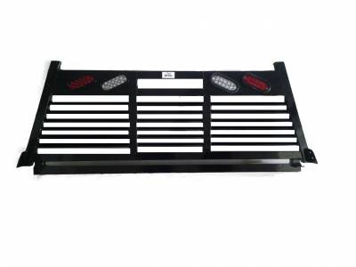 Full Angle - Roughneck 2 Piece Full Angle Rack - Roughneck - ROUGHNECK BLACK BOLT ON HEAD FULL LOUVER WITH LIGHTS (BHRFLWL-F150B)