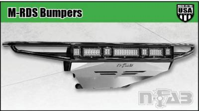 Front - Nfab Front Bumpers - N-Fab - NFAB  M-RDS PreRunner Front Bumper, 1pc Radius Bumper with integrated brushed aluminum skid plate included, Gloss Black
