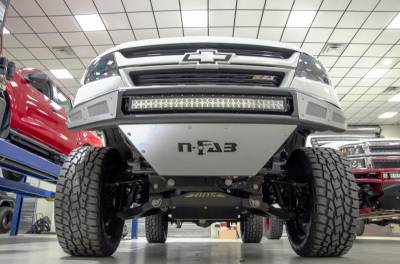 Front - Nfab Front Bumpers - N-Fab - NFAB  M-RDS PreRunner Front Bumper, 1pc Radius Bumper with integrated brushed aluminum skid plate included, Textured Black