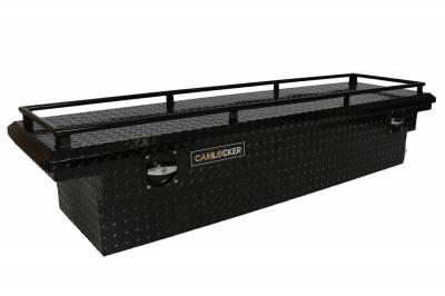 "Aluminum - Camlocker Cross Boxes Aluminum - Cam-Locker - Cam-Locker CAM 60"" Crossover 18"" Slim Low Profile Nothced Gloss Black w/Rail (TBCAM_S60ALPFN_RLGB)"