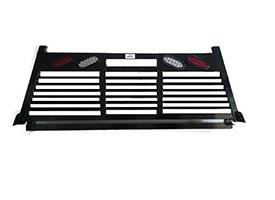 Full Angle - Roughneck 1 Piece Full Angle Rack - Roughneck - ROUGHNECK BLACK 1 PIECE WELDED LONG RAIL FULL ANGLE FULL LOUVER WITH LIGHTS 8' LONG BED (BHRFAFLWLLB-F)