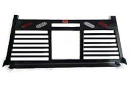 Full Angle - Roughneck 1 Piece Full Angle Rack - Roughneck - ROUGHNECK BLACK 1 PIECE WELDED LONG RAIL FULL ANGLE SPLIT LOUVER WITH LIGHTS 8' LONG BED (BHRFASLWLLB-D)