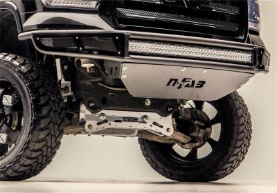 Front - Nfab Front Bumpers - N-Fab - NFAB  M-RDS PreRunner Front Bumper, 2pc Radius Bumper with separate lower brushed aluminum skid plate included, Gloss Black