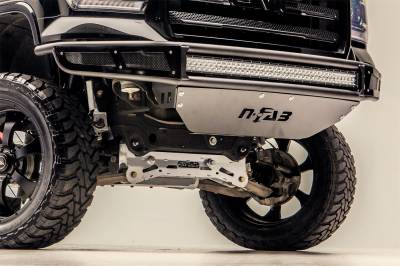 Front - Nfab Front Bumpers - N-Fab - NFAB  M-RDS PreRunner Front Bumper, 2pc Radius Bumper with separate lower brushed aluminum skid plate included, Textured Black