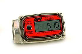 GPI - 01N31LM aluminum turbine water flowmeter with digital LCD display, 10-100 LPM, 1-inch FNPT inlet/outlet