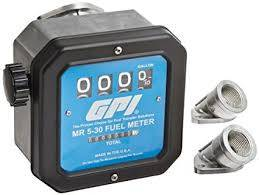 Meters - GPI Meters - GPI - MR530-L8N mechanical disk aviation fuel flowmeter 1-inch FNPT inlet/outlet, 19-114 LPM, 4-digit batch display, non-resettable cumulative total, +/-2 percent accuracy
