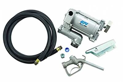 GPI - EZ-8 aluminum fuel transfer pump, 8 GPM, 12V DC, 0.75-inch manual nozzle, 10-foot hose, 15-foot power cord, adjustable suction pipe