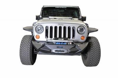 DV8 - Stubby  Front Bumper w/Light bracket  & winch plate 2007-2018 Wrangler JK  (FBSHTB-24)