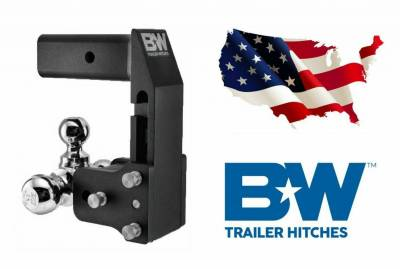 """B & W   Tow & Stow  for GM Multi-Pro Tailgate  Tri Ball    2.5"""" Hitch  7"""" Drop/ 7.5"""" Rise  Black  (TS20067BMP)"""